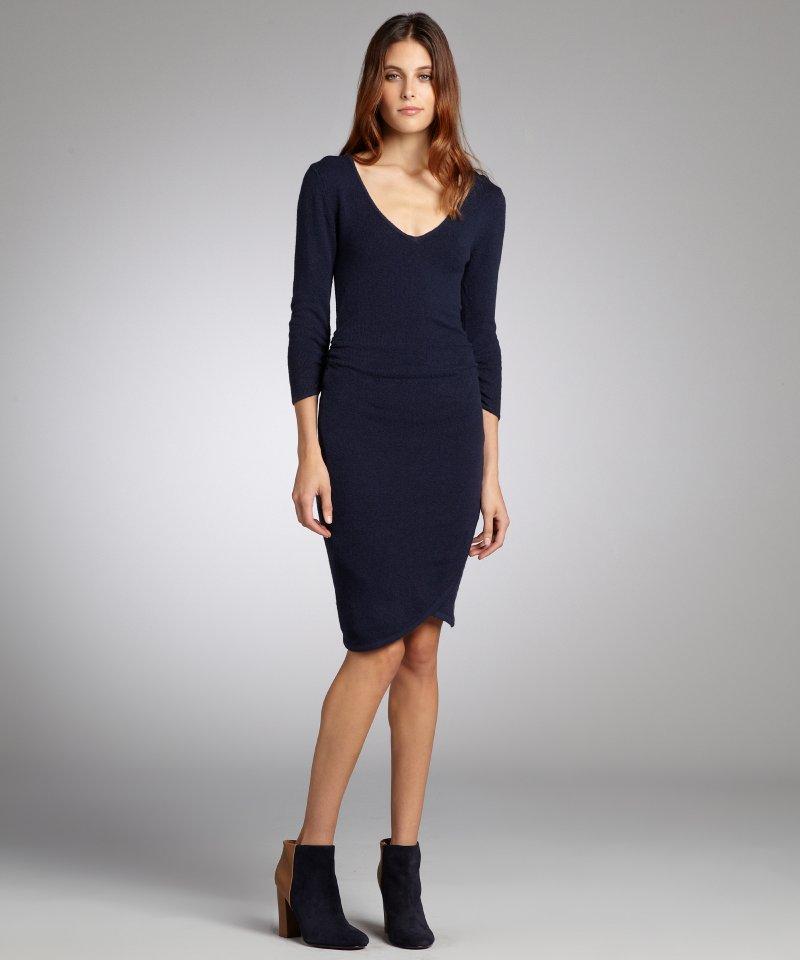 women-s-dark-navy-cotton-blend-ruched-sweater-dress-948-2