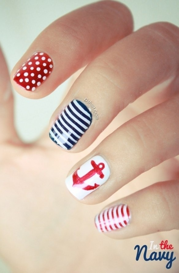 nauticalred white and blue nail art for 2014 4th of july - anchor dots stripe-f20592