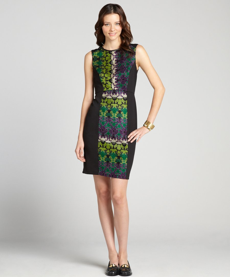 pu960-Donna-Morgan-women-s-green-and-purple-printed-sleeveless-illusion-sheath-dress-1