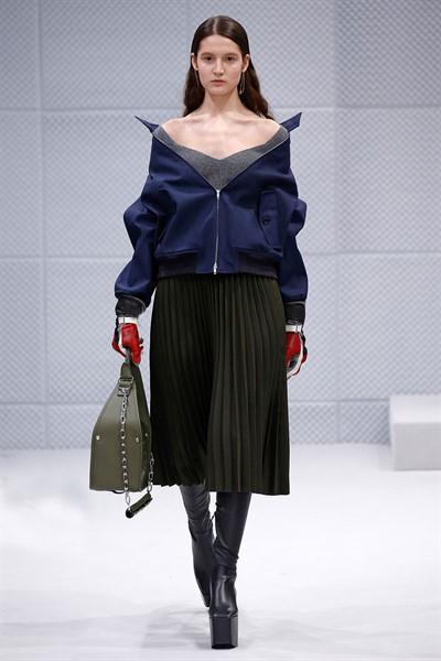 Paris, FR - - A model walks the runway at the Balenciaga Fall/Winter 2016 fashion show during Paris Fashion Week.
